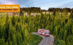 Tåg på räls i skogen